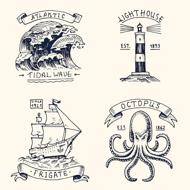 Conjunto de vintage grabado, dibujado a mano, antiguo, etiquetas o insignias para maremoto atlántico, faro y pulpo Vector Premium