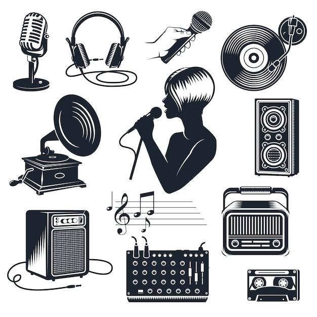 Conjunto vintage monocromo de elementos de karaoke vector gratuito