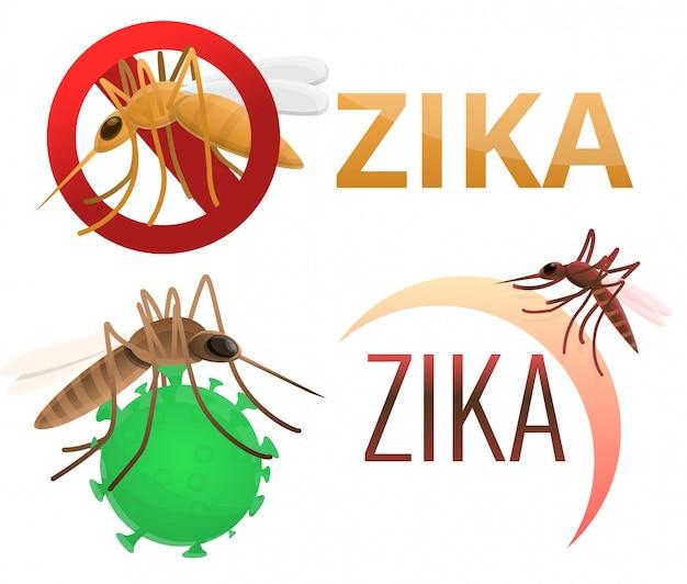 Conjunto de virus zika. conjunto de dibujos animados del virus zika Vector Premium
