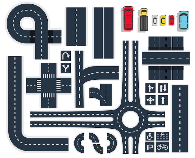Conjunto de vista superior de carreteras de tráfico vector gratuito