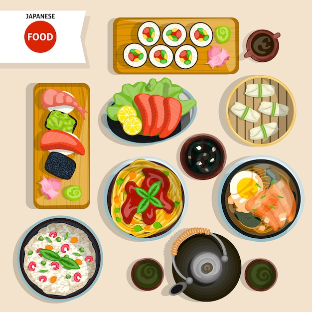 Conjunto de vista superior de comida japonesa vector gratuito