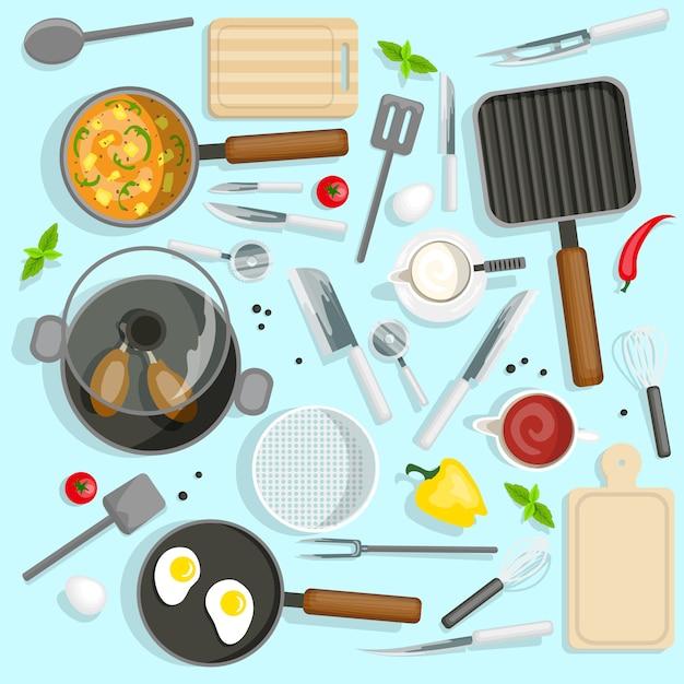 Conjunto de vista superior del lugar de trabajo del chef vector gratuito