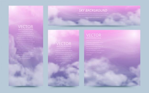Un conjunto de volantes con cielo realista y cúmulos. Vector Premium