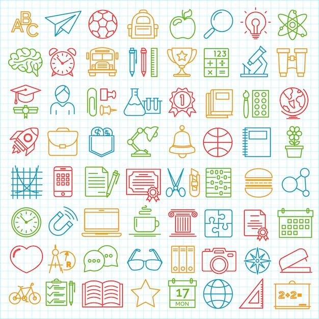 Conjunto de vuelta a la escuela y la educación moderna iconos de líneas finas Vector Premium