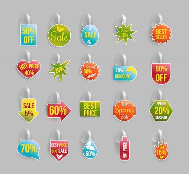 Conjunto wobbler, etiquetas o insignias con descuentos y ofertas vector gratuito