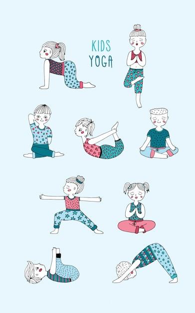 Conjunto De Yoga Para Ninos Los Ninos Realizan Ejercicios Asanas Posturas Meditacion Dibujado A Mano Ilustracion Vectorial Vector Premium