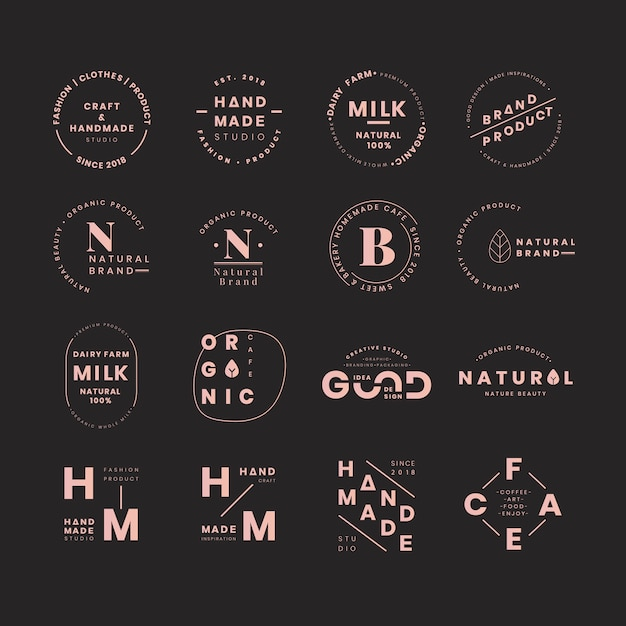 Conjuntos de logos de marca vector gratuito