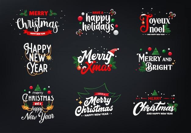 Conjuntos de tipografía navideña Vector Premium