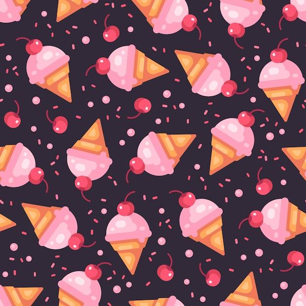 Cono de helado de cereza oscuro de patrones sin fisuras Vector Premium