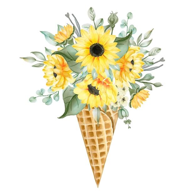 Cono de hielo de acuarela con flores vector gratuito