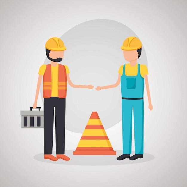 Cono de tráfico de trabajadores de la construcción vector gratuito