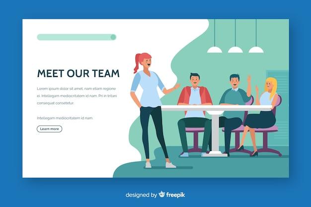 Conoce nuestro equipo de landing page de diseño plano. vector gratuito