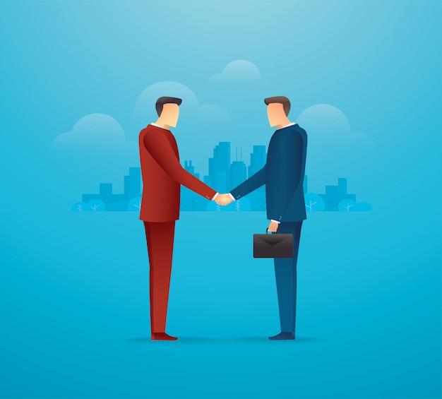 Conocer socios comerciales. dos hombres de negocios dándose la mano Vector Premium
