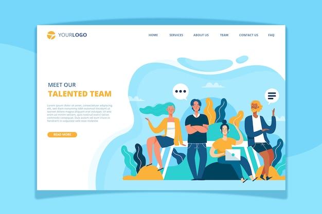 Conozca la plantilla de la página de destino de nuestro equipo vector gratuito