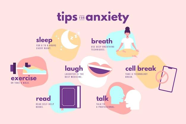 Consejos para ansiedad infografía vector gratuito