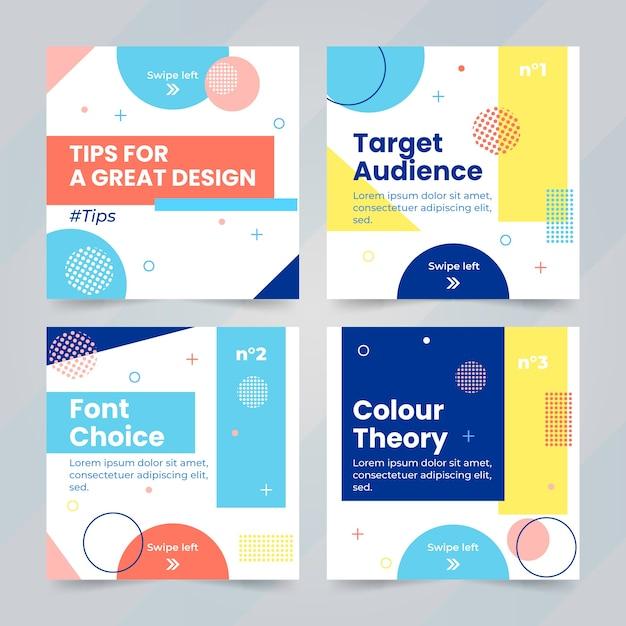Consejos coloridos colección de publicaciones de instagram vector gratuito