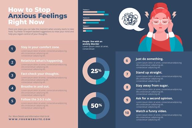 Consejos para el concepto de infografía de ansiedad vector gratuito