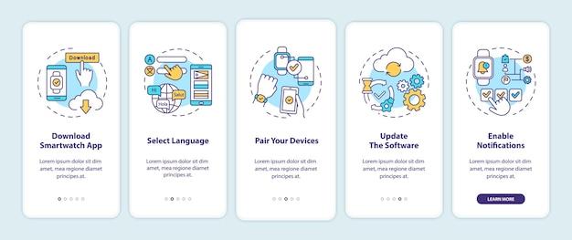 Consejos de configuración de reloj inteligente para incorporar la pantalla de la página de la aplicación móvil con conceptos. Vector Premium