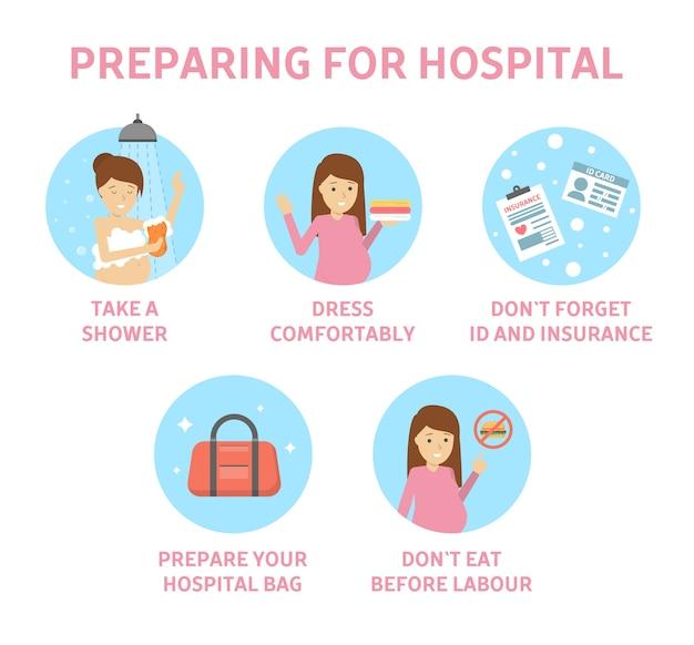 Consejos para futuras madres sobre cómo prepararse para el hospital. guía para embarazadas antes del parto. preparación para el parto. maternidad y salud. ilustración de vector plano aislado Vector Premium
