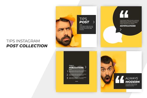 Consejos instagram post collection vector gratuito