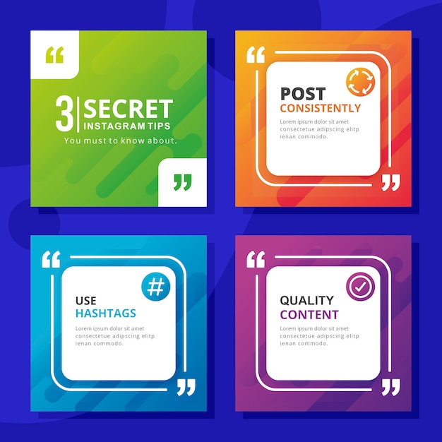 Consejos instagram post collection vector gratuito