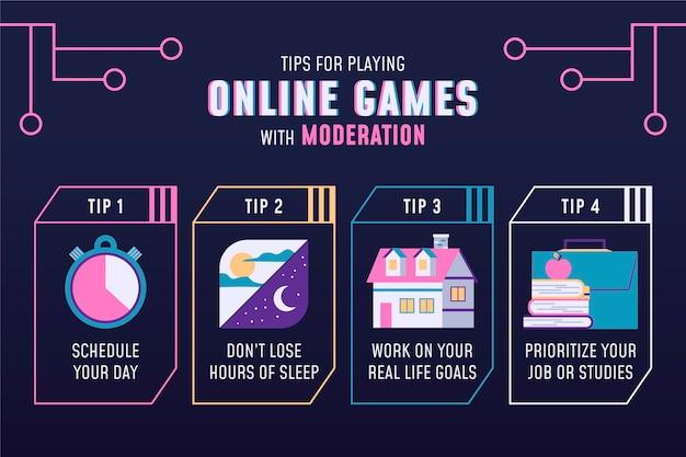 Consejos para jugar juegos en línea con infografía de moderación vector gratuito