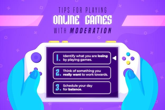 Consejos para jugar juegos en línea con moderación vector gratuito