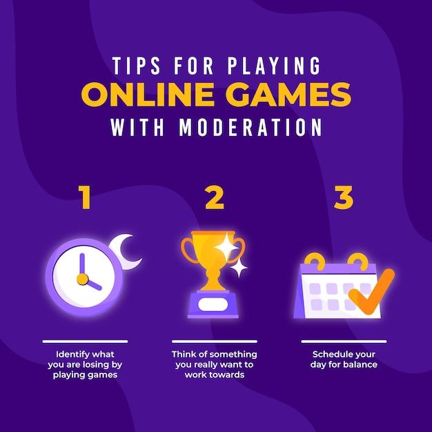 Consejos para jugar juegos en línea con plantilla de moderación vector gratuito