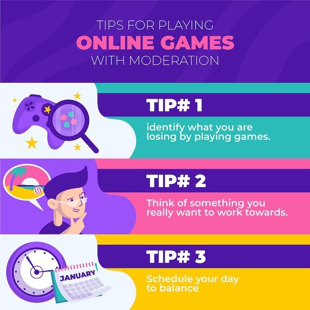 Consejos para jugar videojuegos con diversión y moderación. vector gratuito