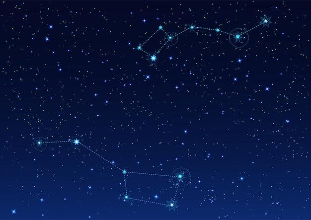 Constelación dipper grande y pequeña. estrella polar noche cielo estrellado Vector Premium