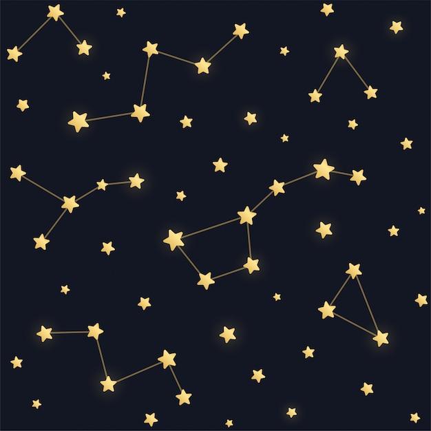 Constelaciones de patrones sin fisuras. estrellas doradas sobre fondo oscuro cielo nocturno. Vector Premium