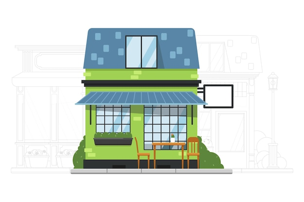 Construcción de casas. pequeña casa de barrio. cafetería o hostal exterior del edificio de apartamentos residencial. calle adyacente con ilustración de silueta de mansión Vector Premium