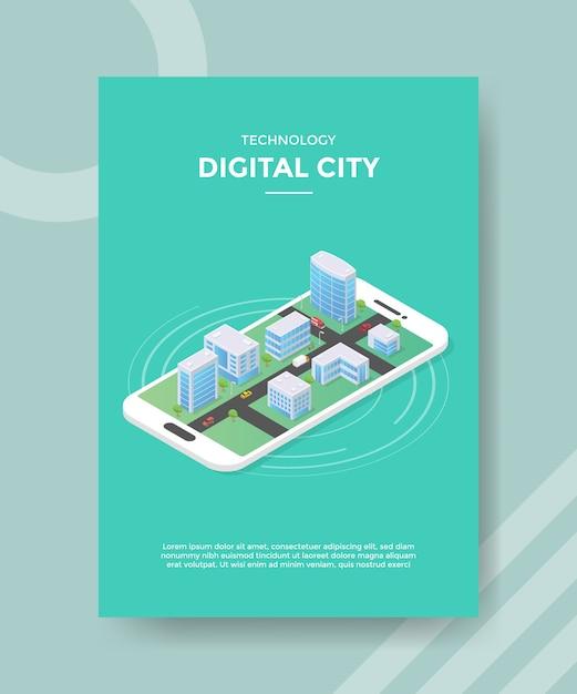 Construcción de ciudad digital de tecnología en plantilla de volante de teléfono inteligente vector gratuito