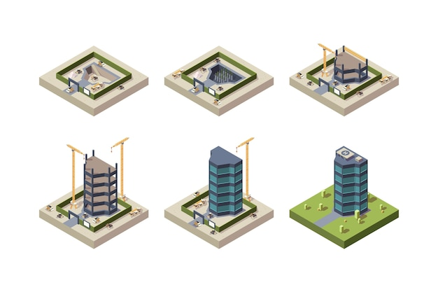 Construcción de escenarios isométrica. imágenes de técnicas de arquitectura de rascacielos de edificios modernos Vector Premium