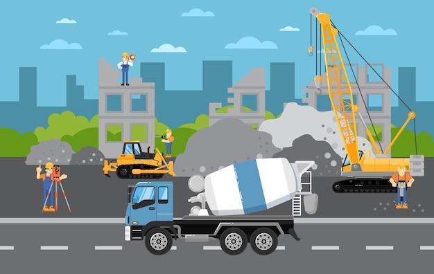 En construcción con maquinaria Vector Premium