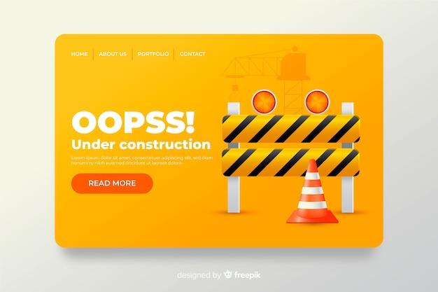 En construcción página de aterrizaje de diseño plano. vector gratuito