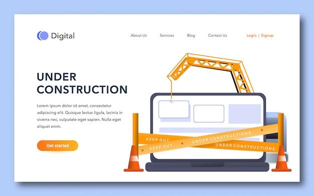 En construcción plantilla de página de destino Vector Premium