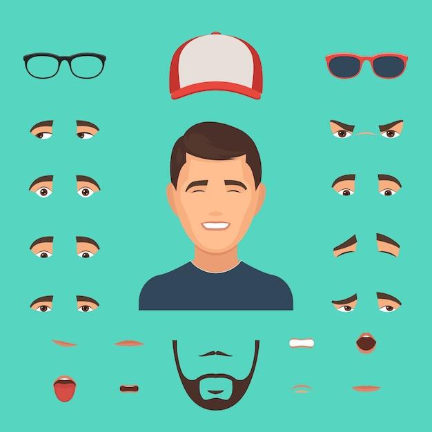Constructor de emociones de cara de hombre Vector Premium