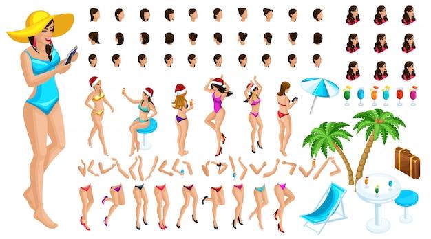 Constructor de personajes isométricos, una bailarina para navidad en la playa Vector Premium
