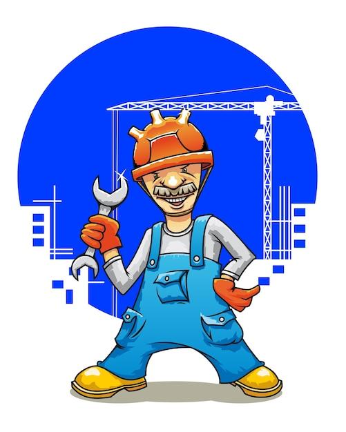 Constructor sonriente de la historieta con llave en la construcción de edificios Vector Premium