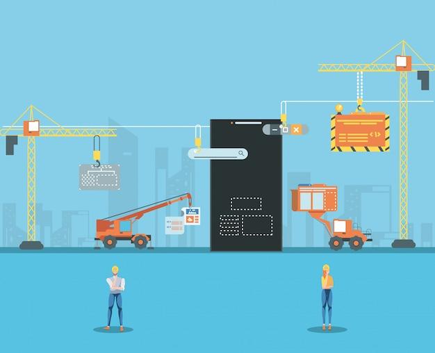 Constructores y teléfonos inteligentes con página web en construcción Vector Premium