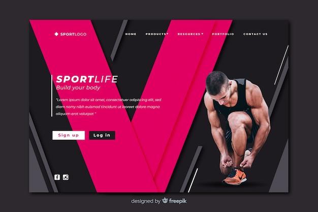 Construye tu página de inicio de deporte corporal vector gratuito