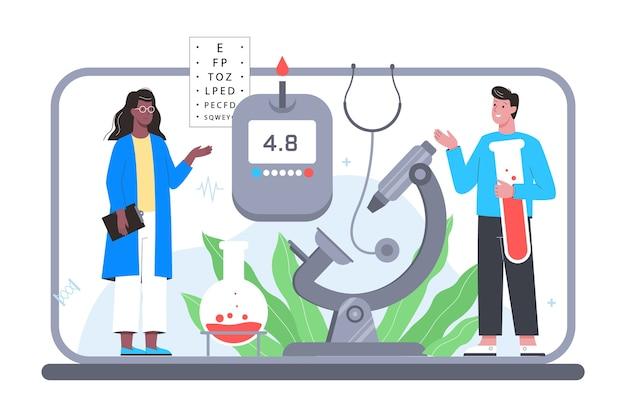 Consulta en línea con el médico. plataforma de tratamiento médico remoto para diferentes dispositivos. servicio móvil. Vector Premium