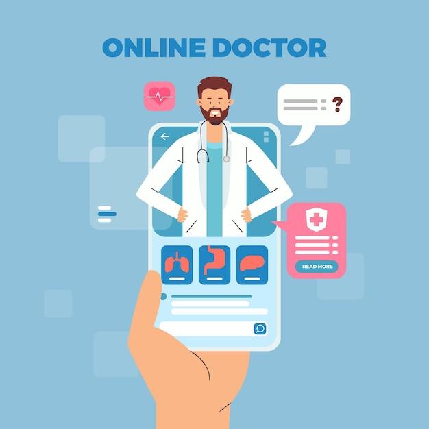 Consulta en línea con médicos y pacientes vector gratuito