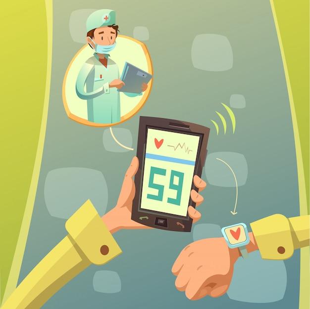 Consulta de médico móvil vector gratuito