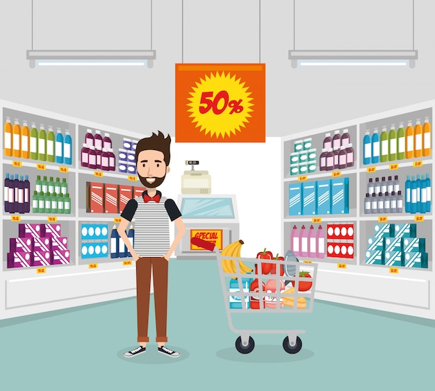 Consumidor con carrito de compras de comestibles vector gratuito