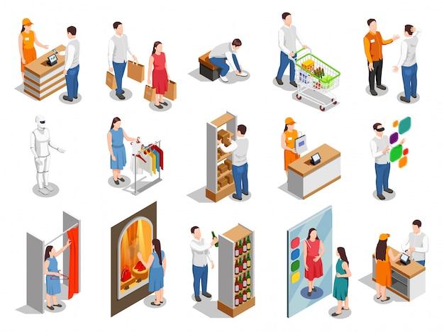 Consumidores comerciales personas isométricas vector gratuito