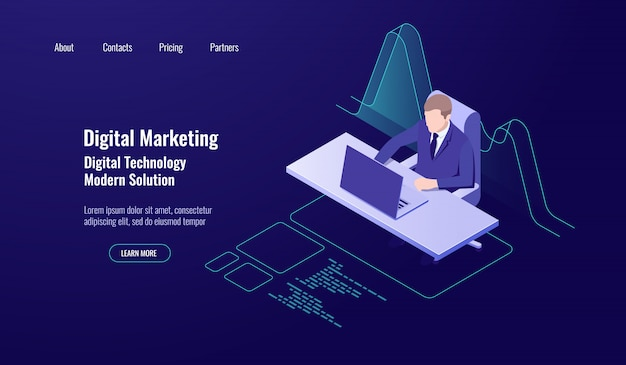 Contabilidad de gestión de dinero, marketing digital, hombre sentado y trabajo en la computadora. vector gratuito