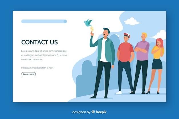 Contacte con nosotros landing page diseño plano vector gratuito