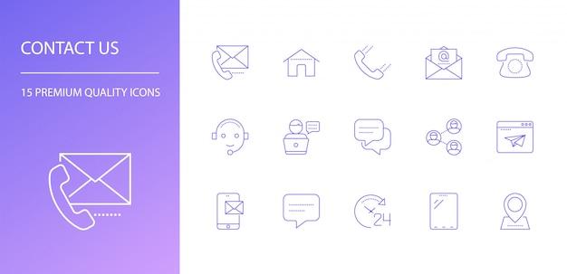 Contáctenos conjunto de iconos de línea. Vector Premium